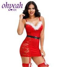 Ohyeahlover lingerie feminina sexy renda natal visível erótico babydoll estilingue vestido de ano novo + cinto g string xl sm90782