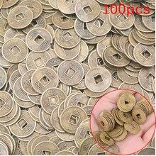 100 pçs chinês antigo feng shui sorte moeda dragão e phoenix antigo riqueza dinheiro boa fortuna casa decoração do carro 10mm