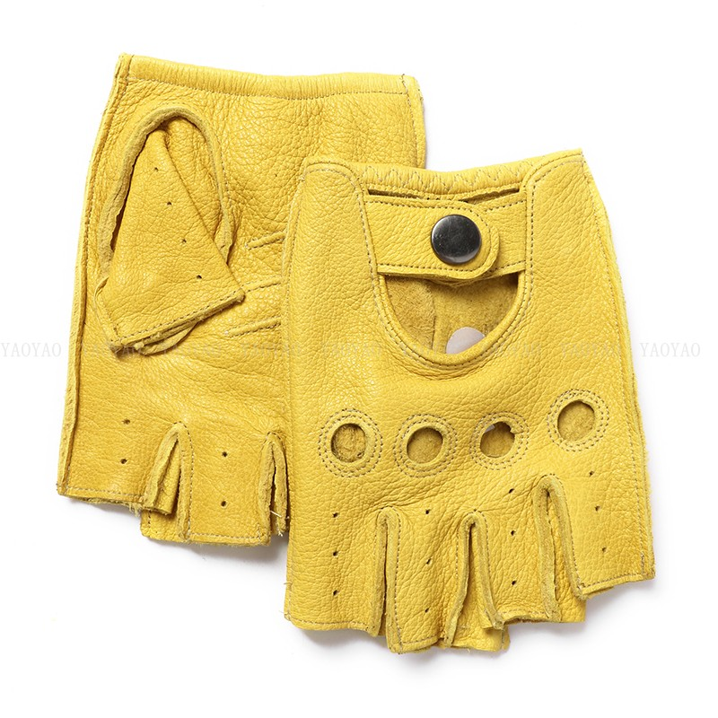 Male100% Genuine Leather Half Finger Short Gloves Men Real Sheep Skin Yellow/Brown/Black Driving Riding Thin Deri Eldiven Luva