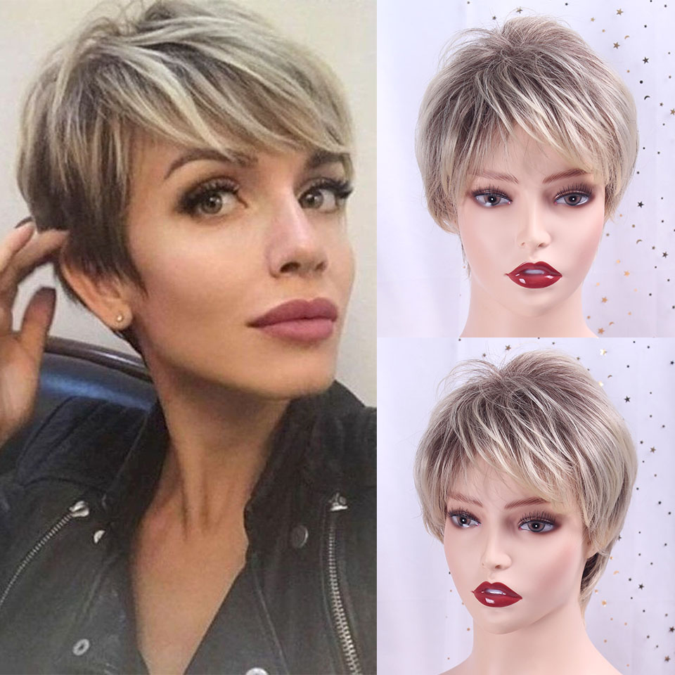 Mix Brown And Blonde Pixie Cut Ombre Women's Wig Shaggy Layered Natural Short Straight Synthetic Hair Female Haircut TALESHE