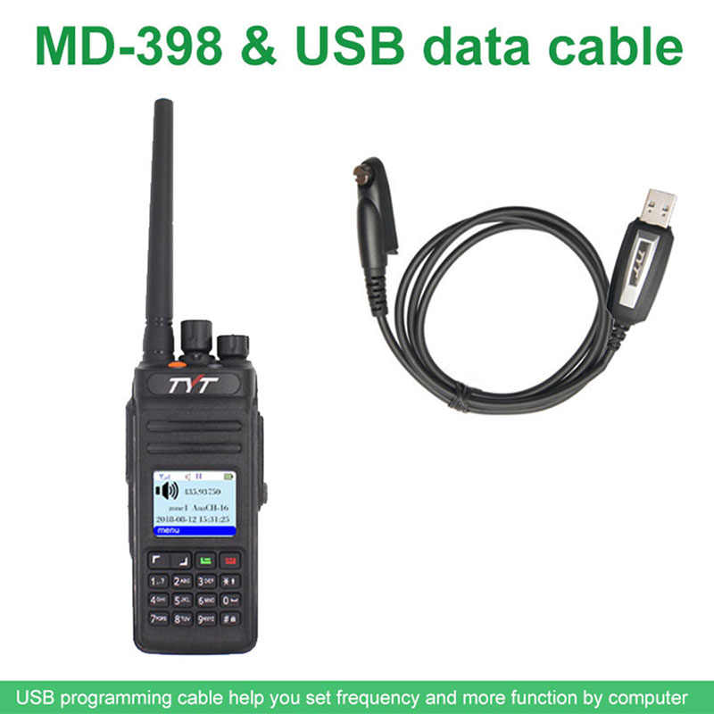 TYT MD398 Walkie Talkie IP67 Two Way Radio 10w Ham Transceiver TYT MD-398 IP67 Waterproof Digital Radio with  Programming Cable
