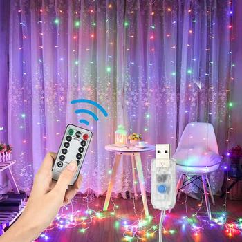 8 tryb 300 diody led bajki łańcuchy świetlne kurtyna świetlna na okno zdalnego sterowania z możliwością przyciemniania z USB zasilany sznurek do zawieszania łańcuchy świetlne wystrój domu tanie i dobre opinie HISOME FAIRY CN (pochodzenie) H7761020 Yes IP44 Koraliki Fairy String Lights Warm White Multicolor(Optional) Adjustable dimming brightness