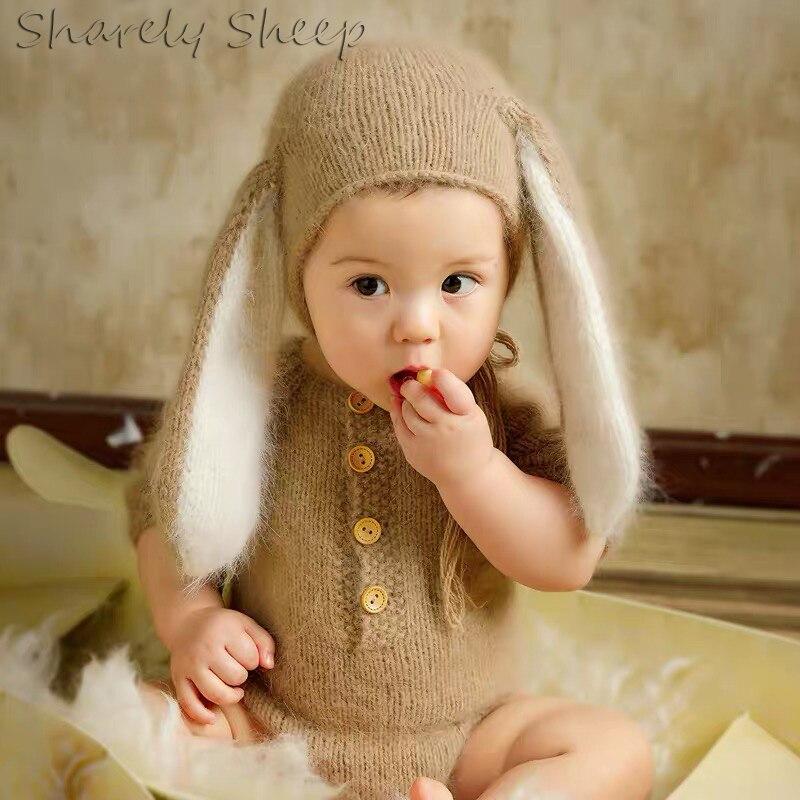 Наряды для фотосессии для маленьких мальчиков и девочек, шапка кролика и кролика + комбинезоны, реквизит для фотосъемки для младенцев, аксессуары для фотосъемки малышей, мультяшный костюм медведя 2