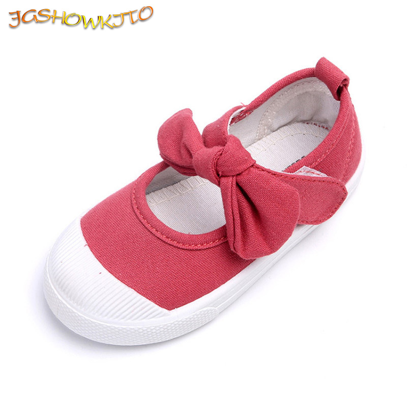 JGSHOWKITO Spring 2020 Children Canvas Casual Shoes Kids Lovely Bow Flat Heels Shoes Girls Princess Solid Candy Color Sneakers