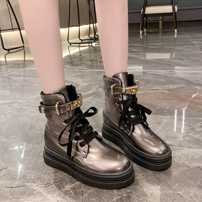 2020 Winter New Women's Fashion Mid-Tube Increased Thick Bottom Plus Velvet Cotton Shoes High-Top Snow Boots Women's Boots W414