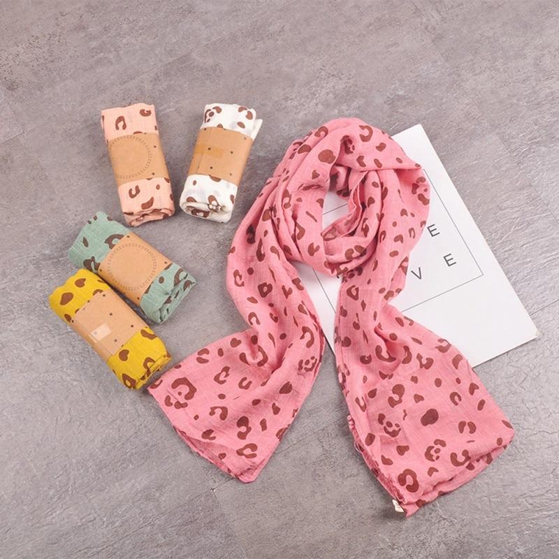 Autumn Winter Casual Fashion Baby Girl Leopard Scarf Children's Warm Neckerchief 1 Pcs
