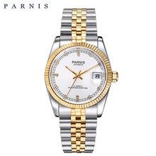 Parnis Reloj de lujo para hombre y mujer, automático, dorado, elegante, con diamantes, pulsera de acero inoxidable, 2020
