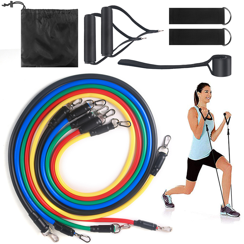 11pcs/set Fitness Pull Rope Exercises Resistance Bands Kits Yoga Elastic Band Latex Tubes Pedal Exerciser Body Training