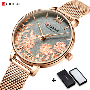 Image 2 - CURREN zegarki damskie Top marka luksusowy zegarek ze stali nierdzewnej stalowy pasek dla kobiet Rose Clock stylowe panie kwarcowe puzderko na prezent