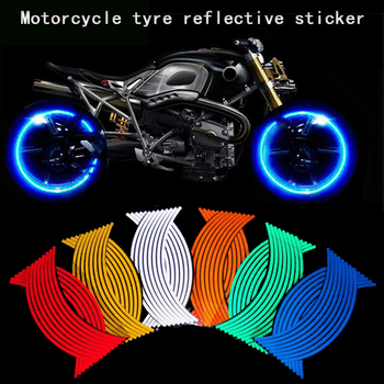 16 Pcs Reflective Motorcycle Wheel Stickers DIY Decals Rim Tape Sticker And Decals Car-styling For Motorcycle Accessories image