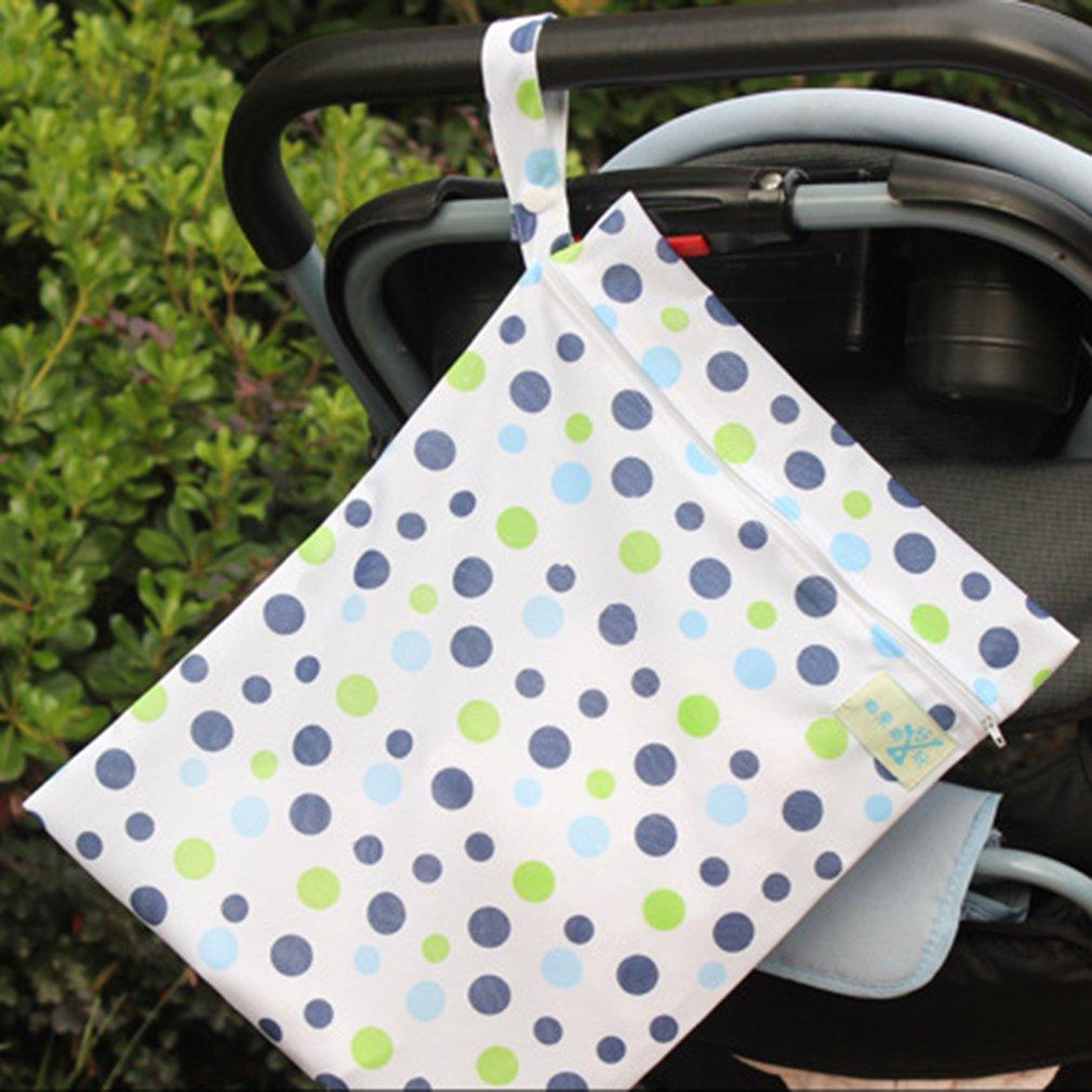 Wet Dry Bag Splice Cloth Diaper Wet Bags Waterproof Double Infant Stroller Travel Zipper Snap Handing For Swimwear Bathing