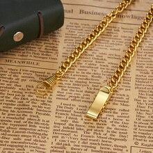 Роскошная цепочка из золотого сплава для подвесных часов Fob, античные часы черного, серебряного, бронзового цвета, держатель цепи из нержавеющей стали для карманных часов