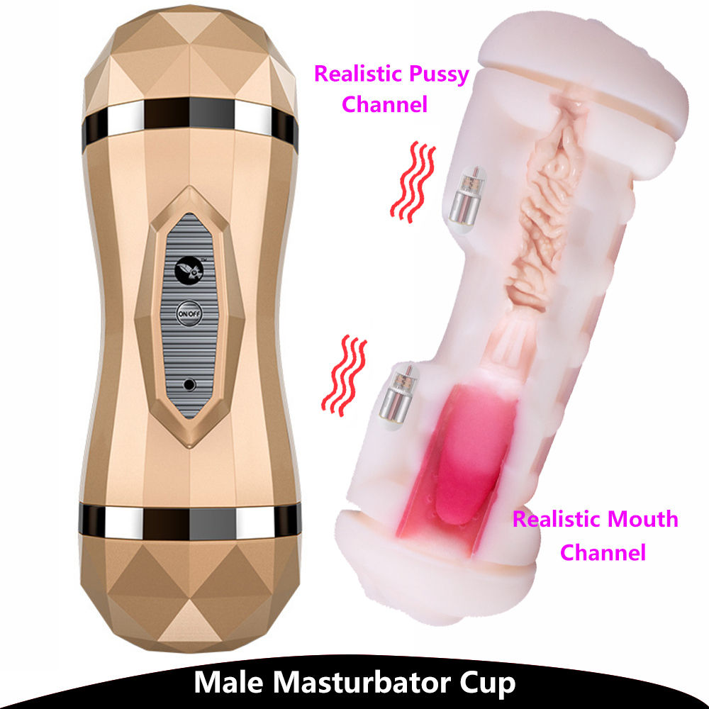 Male Masturbator <font><b>Sex</b></font> Toys Pussy Suck Deep Throat Mouth Real Vagina Double Hole <font><b>3D</b></font> Adult Men Silicone Electric Masturbation Cup image
