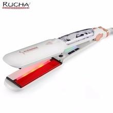Rucha dupla tensão infravermelho vapor alisador de cabelo 2 polegadas placa larga cabeleireiro vapor styler cerâmica turmalina plana ferro