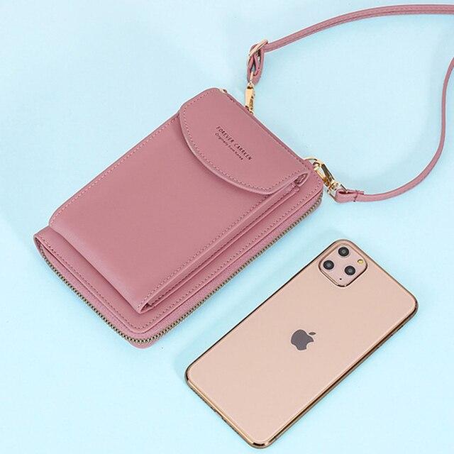 Buylor Mobile Phone Bag Women's Bag PU Handbag Pure Color Wallet Card Holders Shoulder Straps Mini Purses 4