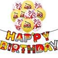 Пожарная машина День рождения рождественские украшения с милой баллоны пожарный тема, детский душ 3th 4th 5th День рождения расходные материалы