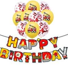Caminhão de bombeiros festa de aniversário decoração banner balões bombeiro tema chá de fraldas 3th 4th 5th aniversário festa suprimentos