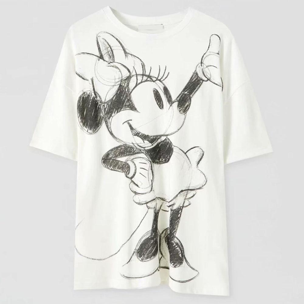 Disney Family T-Shirt Fashion Winnie the Pooh Mickey Mouse Stitch Fairy Dumbo SIMBA Cartoon Print Women T-Shirt Cotton Tee Tops 2