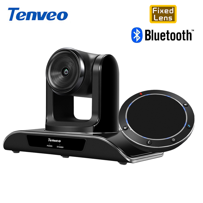 Tenveo HD 1080P Fixed Focus Camera 8MP 138 Degree Wide Angle With Bluetooth USB Conference Speakerphone For VoIP Softphones