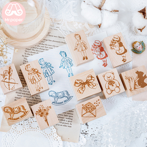 Mr Paper 10Designs Retro Cupid Flower Series Seal Wooden Rubber Stamps Set for Scrapbooking Deco Craft Planet Star Wooden Stamps