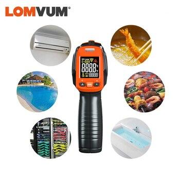 LOMVUM Digital Infrared Thermometer Non Contact Temperature Gun Laser Handheld IR Temp Gun Colorful LCD Display 50-580C Alarm 4