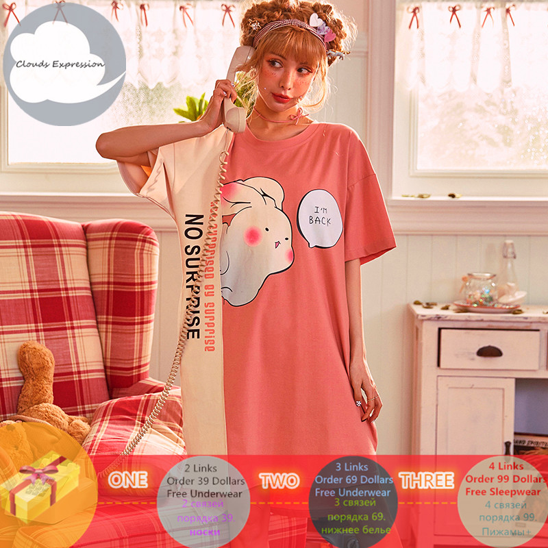Brand Summer Nightgowns O-neck Cotton Cartoon Women's Sleepwear Nightwear Plus Size Sleep&Lounge Nightdress Home Dress Fashion