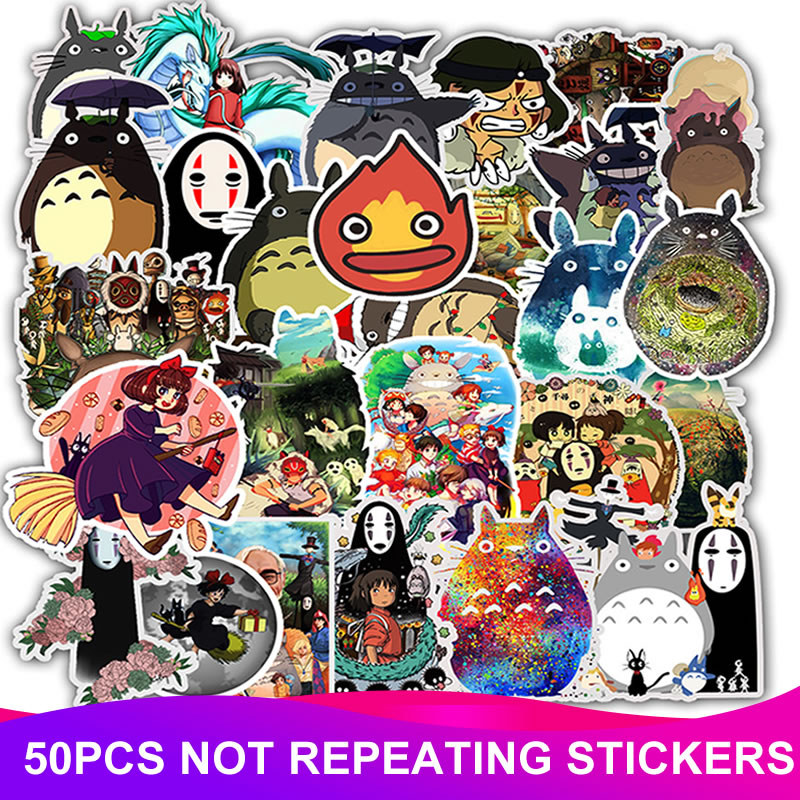 50pcs/Pack Waterproof Cartoon Totoro Spirited Away Stickers Skateboard Suitcase Motorcycle Laptop Funny Sticker Kids Classic Toy