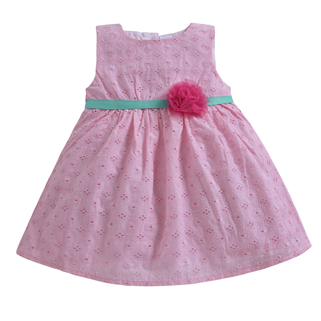 Kids Clothes Baby Girls Birthday Outfit Dresses Sweet Girls Pink Sleeveless Lace Floral Costume Toddler Party Princess Dress