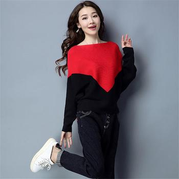 Female Winter Sweater Loose O-Neck Sweater Casual 2019 Korean Female Patchwork Sweater Batwing Sleeve Knit Top