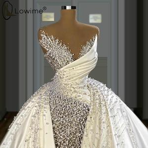 High End Luxury Pearls Satin Wedding Dresses Illusion O Neck Overskirts Wedding Bridal Gowns Custom Made