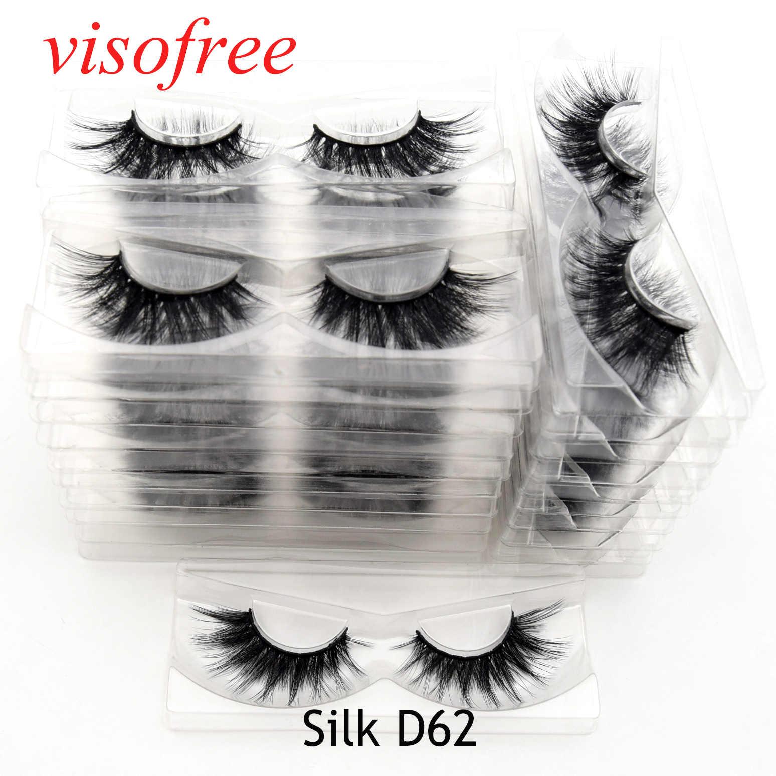 Visofree 30 пар/лот, ресницы из норки, макияж, накладные ресницы ручной работы, натуральные объемные ресницы, Silk-D62