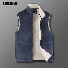 2021 New Men Zipper Casual Fashion Cotton Winter Jacket Men Sleeveless Vest Fleece Warm Outerwear Coats Plus Size Jacket Men 6XL