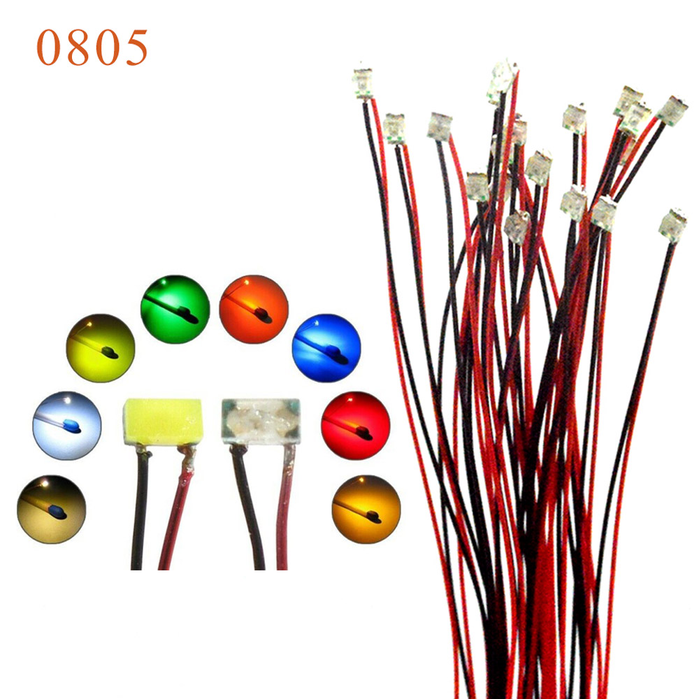 0805 SMD model train HO N OO scale Pre soldered micro litz wired LED leads 20cm wires in Model Building Kits from Toys Hobbies