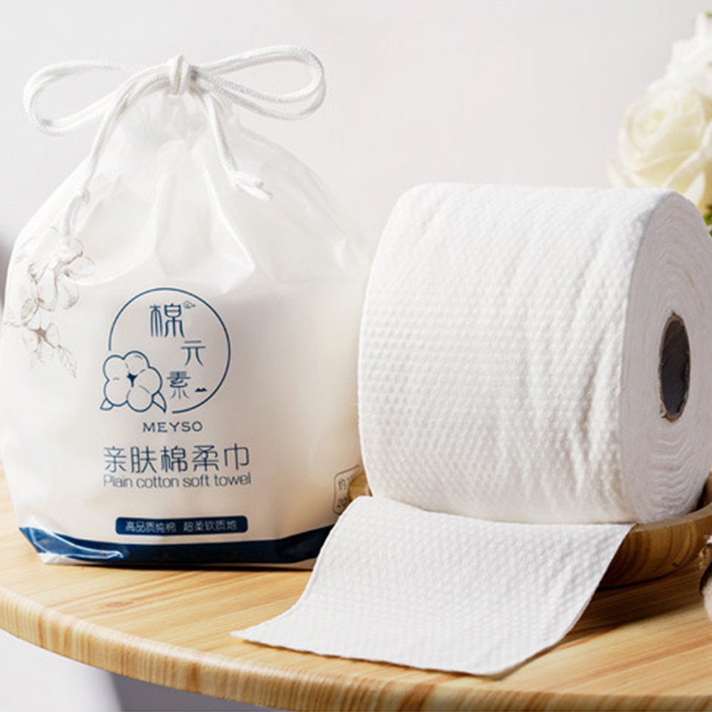 70Pcs/Roll Face Towel Wipers Soild Disposable Thickened Facial Cleaning Pads Soft Non-woven Fabric Baby Towel For Travel Home