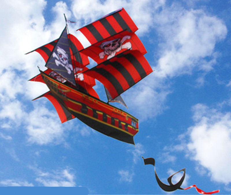 3D Professional Three-dimensional Pirate Ship Sailing Kite / Power Single Line Kite Good Flying Outdoor Sports Family Game Toys