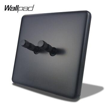 Wallpad 2 Gang 2 Way Negro Interruptor de palanca doble Interruptor de luz de pared eléctrico Panel de metal Estándar de la UE con garras Caja redonda