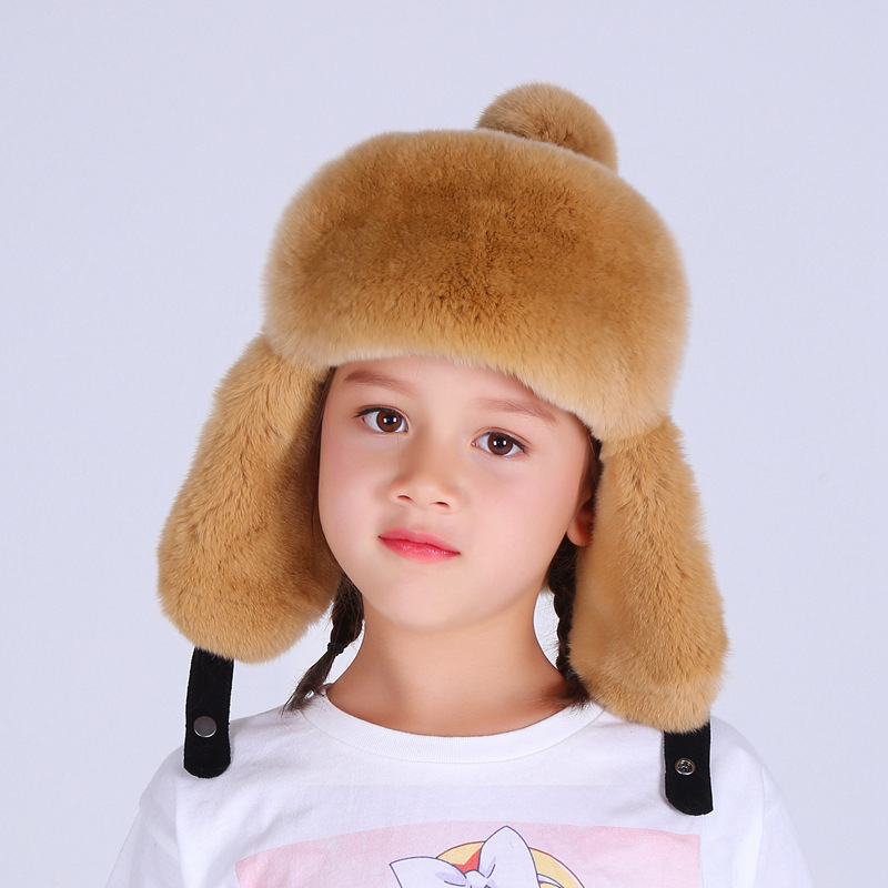 Fur Hat Real-Rabbit-Fur Girls Winter Kids Children Cotton Fashion Boy Warm Autumn H--19