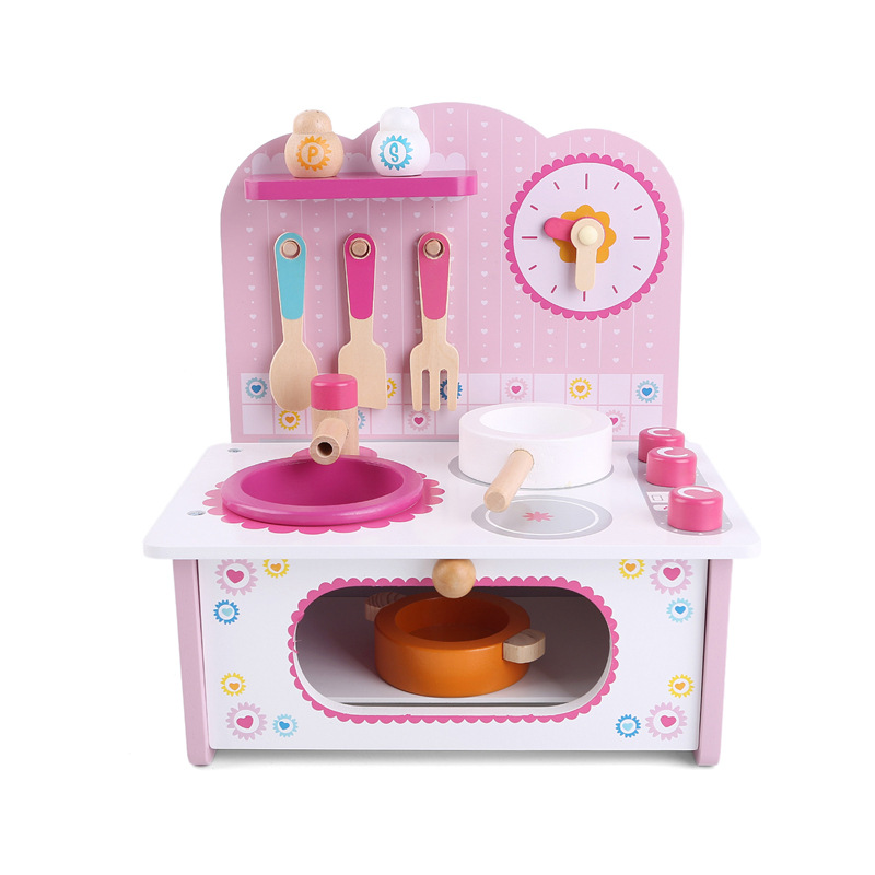 Children's toys mini kitchen wooden gas cooker cooking set