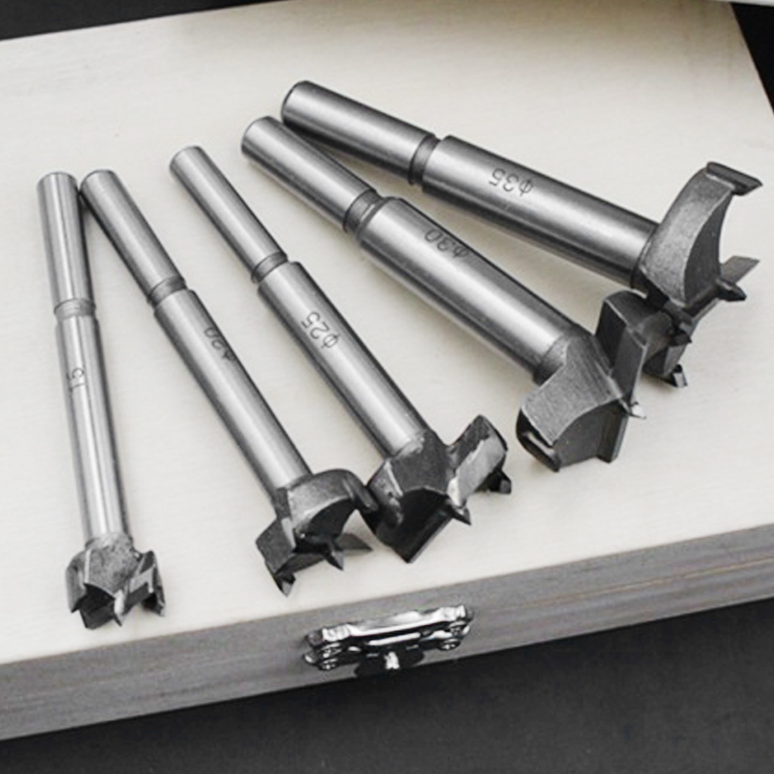 15mm-35mm Forstner Drill Bits High Carbon Steel Forstner Wood Drill Bit Self Centering Hole Saw Cutter Woodworking Tools Set