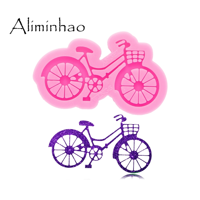 Shiny Glossy Bicycle Keychain Mould Silicone Epoxy Resin Mold Jewelry Making DIY