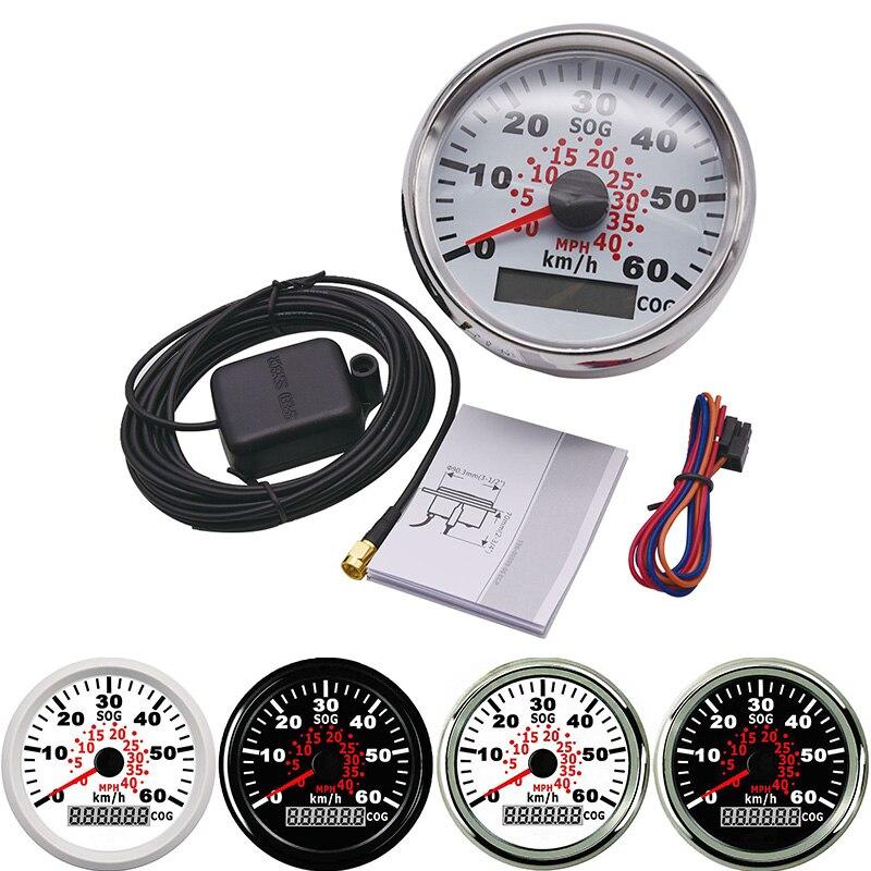 85 ミリメートルマリンボート GPS スピードメーターユニバーサル計 60 キロ/h でゲージ赤バックライトオートバイ自動車用トラックボート 9 〜 32V
