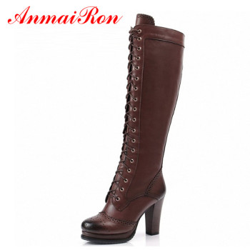 ANMAIRON High Quality Sexy Winter Boots Women Thigh New Lace Up Knee Corium Boot Heels Retro Knight