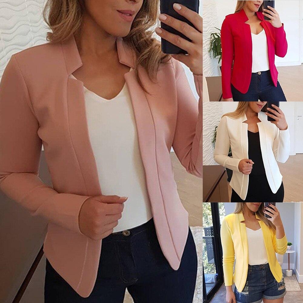Women Vintage Blazer Jacket Office Lady Slim Autumn Coat Women Female Outwear Feminino Winter Plus Size Blazer Feminino Mujer
