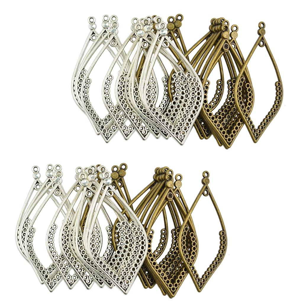 48Pcs Tibet Silver Bronze Metal Hollow Leaf Shape Frame Charms Pendants for Earring Dangle