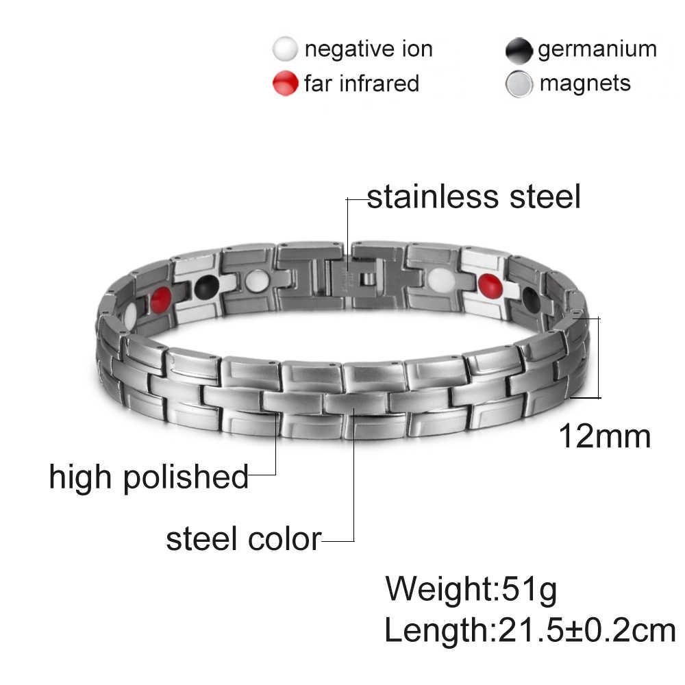 Salud pulsera magnética masculina pulsera de acero inoxidable pulsera magnética hombres Cadena de mano pulseras de energía germanio para hombres