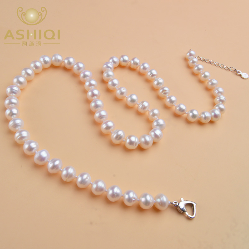 ASHIQI Natural Freshwater Pearl Necklace 8-9mm Near Round Pearl Jewelry For Women Gift