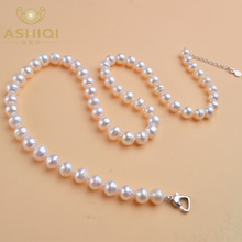 ASHIQI natural freshwater pearl necklace 8-9 mm near round pearl jewelry for women gift