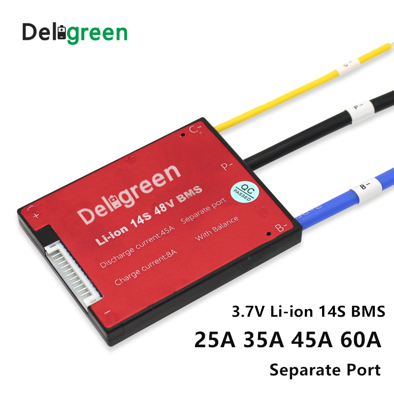 14S 25A 35A 45A 60A PCM/PCB/BMS For 48V 18650 LiNCM Li Ion  Lithium Battery Pack For Electric Bicycle Scooter And Tools