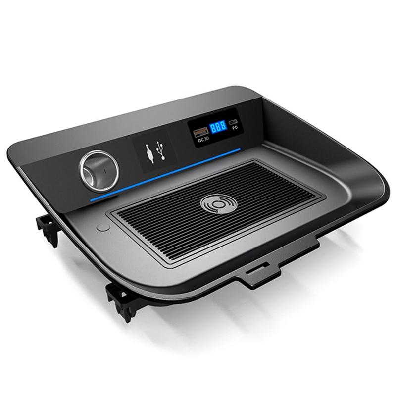 Araba Qi hızlı kablosuz araba şarjı şarj paneli telefon tutucu Toyota RAV4 RAV 4 2019 2020 title=