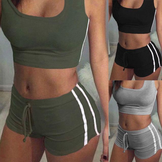 Sexy Women 2PCS Yoga Set Female Sleeveless Tank Top Bra Fitness Shorts Running  Gym Sports Clothes Suit 3